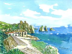 Scopello Sicily  Italy art print from an original by AndreVoyy
