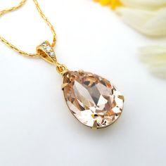 Champagne Bridal Necklace Swarovski Crystal by BeYourselfJewelry, $22.99