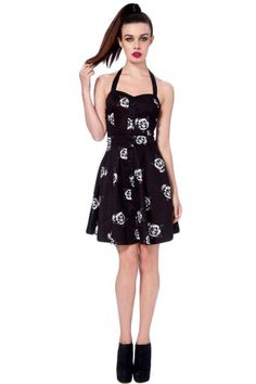 Women's Skull Poppy Dress - Black