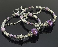 Purple Hoop Earrings  Silver and Purple by TheaDesignConcepts