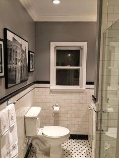 White bathtub tile ideas bathroom remodel subway tile penny tile floor bathrooms black and white bathroom Bad Inspiration, Bathroom Inspiration, Casa Rock, 1920s Bathroom, Master Bathroom, Basement Bathroom, 1920s Kitchen, Brown Bathroom, Bathroom Repair