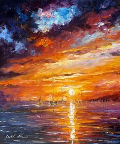 Across the Ocean is a painting by Leonid Afremov representing the water element in the most vivid colors, which the artist inked using palette knife. Palette Knife Painting, Painting Wallpaper, Oil Painting On Canvas, Painting Clouds, Sailboat Painting, Painting Trees, Painting People, Anime Comics, Contemporary Artists