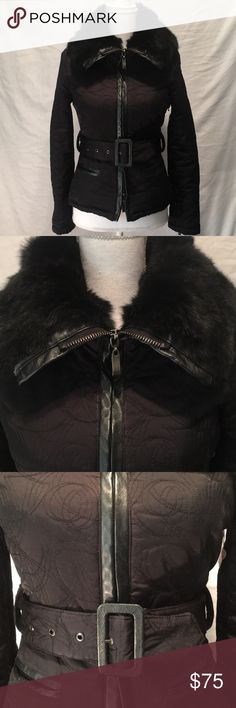 Bebe coat Beautiful black rabbit fur collar on this coat. Length from shoulder is 22 1/2 inches. Armpit to armpit laying flat is 16 inches. bebe Jackets & Coats