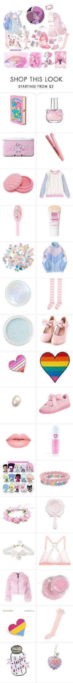 """Salty angery lesbian and her fluffy girlfriend"" by crimson-crow ❤ liked on Polyvore featuring Olympia Le-Tan, Hello Kitty, Nintendo, FHI Heat, Fujifilm, Forever 21, claire's, Maybelline, Bare Escentuals and Puma"