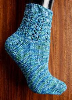 free knit sock pattern - Panda Wool - Cables & Lace Socks - Crystal Palace Yarns
