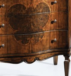 inlaid chest - 18th century style three drawer chest in chest walnut veneer inlaid with olive and rosewood and has antiqued brass hardware