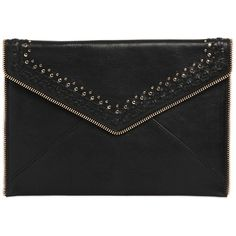 Rebecca Minkoff Women Micro Stud & Zip Leather Clutch (1,480 GTQ) ❤ liked on Polyvore featuring bags, handbags, clutches, black, studded handbags, genuine leather handbags, rebecca minkoff clutches, studded leather handbag and zipper handbag