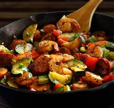 20-Minute Shrimp & Sausage Skillet Paleo Meal Recipe:Think healthy and hearty paleo cooking takes forever? Got 20 minutes?