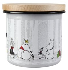 Moomin Enamel Storage Jar With Wooden Lid Winter Trip 12 cm Tove Jansson, Tea Tins, Jar Storage, Kitchen Storage, Data Sheets, Moomin, Microwave Oven, Tin Boxes, Winter Travel