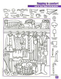 Search and find - figure ground discrimination / Buscar y encontrar - figura de… English Activities, Activities For Kids, Hidden Pictures Printables, Hidden Picture Puzzles, Pediatric Ot, Search And Find, Hidden Objects, Colouring Pages, Teaching English