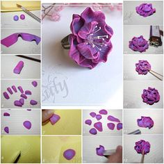How to make Nice Polymer Clay Flower arrangements step by step DIY tutorial instructions