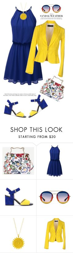 """""""Under $100: Summer Dress'"""" by dianefantasy ❤ liked on Polyvore featuring Geox, Gucci, Dogeared, Dsquared2, polyvorecommunity, under100 and polyvoreeditorial"""