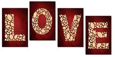 LOVE..WORD ART RED/CREAM - 4 PANELS - PRINT ON CANVAS 32X12 INCH Cheryl Monaghan http://www.amazon.co.uk/dp/B00VYYKR9A/ref=cm_sw_r_pi_dp_1zltvb06HX731