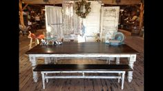 Handmade farmhouse table with benches. Made at Texas Hill Country Furniture in Lipan tx
