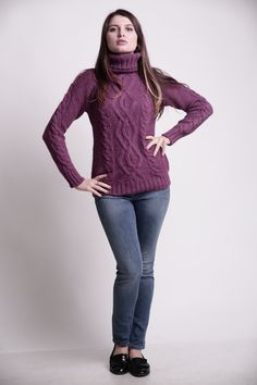Women Knitted High Neck Sweater. Burgundy Color. Girl by ispassion ...