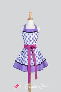 Etsy listing at https://www.etsy.com/listing/208062142/ruffled-retro-apron-woman-apron-calipso