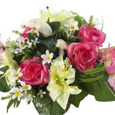 Ramos Todos los Santos. Ramo de cementerio con flores artificiales. Compuesto de gladiolos y rosas rosadas liliums amarillos rosas blancas  y hojas. Alto 31 cm