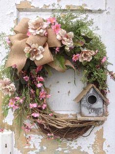 Spring Wreath Easter Wreath Summer Wreath Front Door Wreath with Birdhouse Rustic Wreath Rustic Decor FlowerPowerOhio Wreath Crafts, Diy Wreath, Diy Crafts, Wreath Ideas, Wreath Burlap, Grapevine Wreath, Diy Spring Wreath, Spring Crafts, Spring Wreaths For Front Door Diy