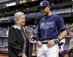 Longoria with Don Zimmer's widow, Soot, at yesterday's ceremony.  The Official Site of The Tampa Bay Rays   raysbaseball.com: Homepage