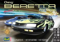 Chevy® Beretta Pro-Street 1/25 scale model kit from Revell. Full Pro Street tube frame, detailed V-8 with nitro-injection, twin rear wheelie bars, and decals. SSP - Selected Subjects Program, limited production, 1x offering # 85-7168 • Level 5 paint & glue kit.