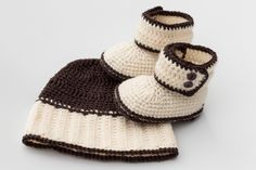 Unisex Baby Set, Crochet Hat and Booties, Free worlwide shipping, Fall Autumn…