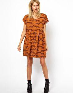 ASOS | ASOS Smock Dress In Baby Fox Print at ASOS