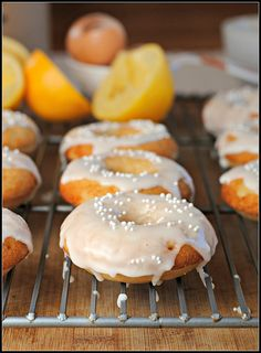 Meyer Lemon Iced Baked Donuts made with whole wheat pastry flour,  nonfat milk, and agave nectar via @Prevention RD