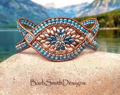 """Size 7 Turquoise Teal Copper Bracelet-Beaded Leather Wrap Cuff Bracelet-Custom Sizes-""""The Cactus Flower"""" in Teal n' Copper (CF-TLC) Leather Cuffs, Leather Jewelry, Beaded Jewelry, Handmade Jewelry, Beaded Bracelets, Wrap Bracelets, Leather Cord, Leather Bracelets, Red Leather"""