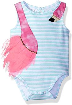091a8c2c4000 Amazon.com: Mud Pie Baby Girls' One Piece Sleeveless Bodysuit Crawler,  Flamingo: Clothing