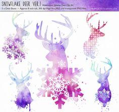 SALE Deer Christmas Clip Art. Watercolor by FRANCEillustration, $4.00