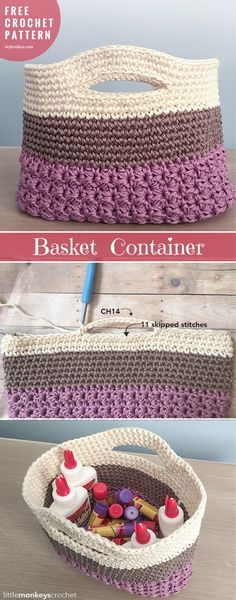 Baskets Container #FreeCrochetPattern | HUNTLEY GIFT BAG #crochetBasket | Written | US Terms Level: intermediate Author: by Little Monkeys Crochet