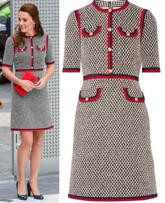 hrhduchesskate: V & A Museum Road Quarter Opening, June Duchess of Cambridge wore a Gucci Tweed Dress with Web, accessorized with her L. Bennet Art shoes in navy, red clutch and Kiki McDonough Annoushka pearl earrings Duchess Kate, Duchess Of Cambridge, Kate Blog, Herzogin Von Cambridge, Italian Luxury Brands, Gucci Dress, Tweed Dress, Victoria And Albert Museum, Princess Kate