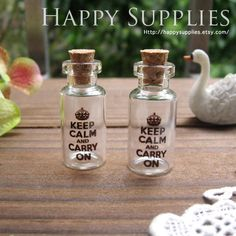 Items similar to Handmade Photo Glass Tiny Bottle Vials Charms / Pendants - Keep Calm and Carry On on Etsy Magic Bottles, Glass Bottles With Corks, Glass Vials, Bottle Charms, Bottle Art, Baubles And Beads, Cute Clay, Message In A Bottle, Mini Things