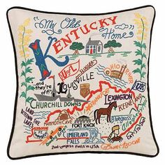 HAND EMBROIDERED STATE PILLOWS - KENTUCKY |  UncommonGoods