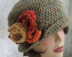 Crochet Pattern Womens FLapper Hat Brimmed With Free Form Trim
