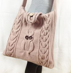 Knitted/crochet light toupe tote bag with an owl by TheFrenchYarn, $58.00
