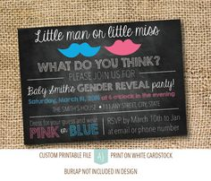 Gender Reveal Party Invite with Personalization! How this listing works:  1) Purchase this listing.  2) Please include the following
