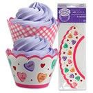 Candy Hearts Cupcake Wrappers- 48 pcs  Say it with a cupcake this year! Candy hearts with lighthearted messages adorn the sleeves. Sweet candy hearts with messages on one side and pink and white plaid print on the other. Easy to to create lovely cupcakes. These treat wraps fit a standard sized cupcake and the size is adjustable to fit your cupcake. 48 pcs