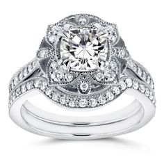 Annello by Kobelli 14k White Gold Cushion Moissanite and 1/2ct TDW Diamond 2-Piece Floral Antique Br (Size 6.5), Women's
