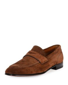 Brent+Suede+Penny+Loafer,+Brown+by+Bally+at+Neiman+Marcus.