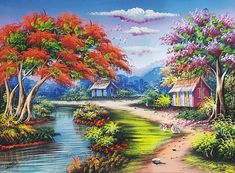 Original oil painting unique piece item. This painting has a flamboyant, a tropical tree, full of orange flowers just as it puts its foliage during spring. It is accompanied with a pink flowers tree and two humble wooden houses, a river and cocks, all surrounded by mountains, forest