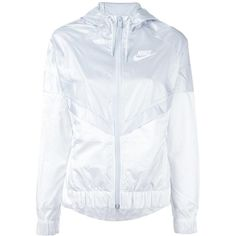 Nike colour block windbreaker jacket ($74) ❤ liked on Polyvore featuring activewear, activewear jackets, white, nike, logo sportswear, nike sportswear and nike activewear