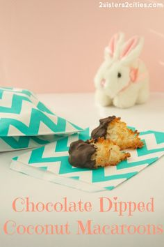 Chocolate Dipped Coconut Macaroons {from 2 Sisters 2 Cities}- this easy cookie recipe is the perfect treat for Easter or Passover