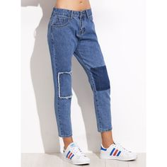 Blue Patchwork Ankle Jeans (€16) ❤ liked on Polyvore featuring jeans, blue, denim cropped jeans, denim capris, cropped jeans, capri denim jeans and blue colour jeans