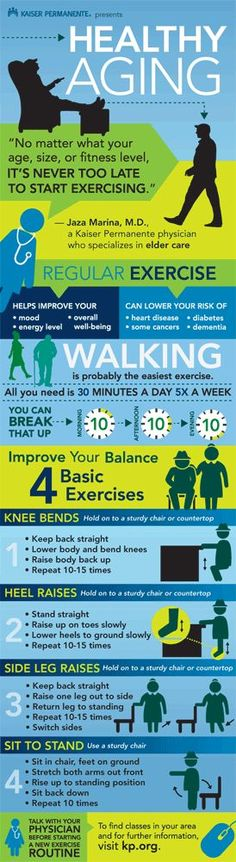 Kaiser Permanente Healthy Aging infographic, January 2015 - 4 great exercises that can be done at work and at home to help improve strength and balance.