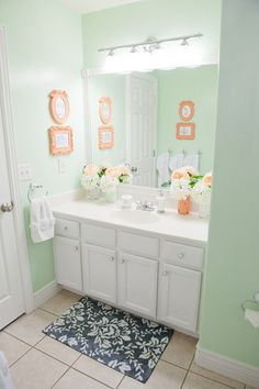 coral mint grey bathroom - Google Search
