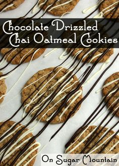 Chocolate Drizzled Chai Oatmeal Cookies