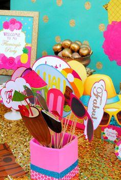 LUAU Party - Luau PHOTO Props - Flamingo Printables -Flamingo Birthday - Pineapple - Luau Party