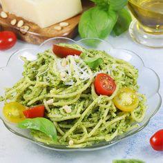 Pesto, Mozzarella, Spaghetti, Food And Drink, Vegetarian, Dishes, Ethnic Recipes, Yummy Yummy, Polish
