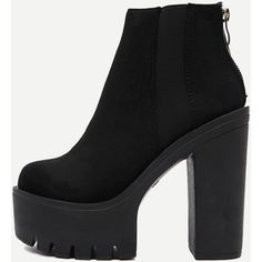 SheIn(sheinside) Black Suede Zipper Back Ankle Boots (€42) ❤ liked on Polyvore featuring shoes, boots, ankle booties, black, black suede ankle booties, platform ankle boots, high heel ankle boots, black booties and black platform boots